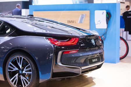 Bangkok, Thailand. 28th Mar, 2017.Back of  BMW i8 car on display at The 38th Bangkok International Thailand Motor Show 2017 on March 28, 2017 Nonthaburi, Thailand