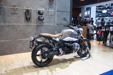 Bangkok, Thailand. 28th Mar, 2017. BMW Rninet Scrambler motorcycle on display at The 38th Bangkok International Thailand Motor Show 2017 on March 28, 2017 Nonthaburi, Thailand Editorial