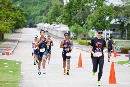 Nakhon nayok,Thailand - 25 June 2017:  Triathletes running in Challenge Nakhon Nayok 2017 Editorial