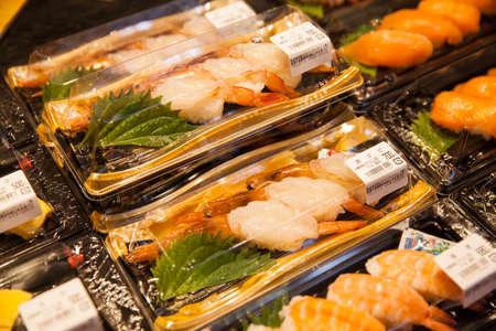 Wakayama, JAPAN - NOVEMBER 29, 2017: Sushi packs for sale at Kuroshio food market is located on the west side of Porto Europa within Wakayama Marina City