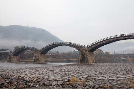 Kintai Bridge (Kintai-kyo), the most distinguished landmark of Iwakuni, Japan. Stock Photo