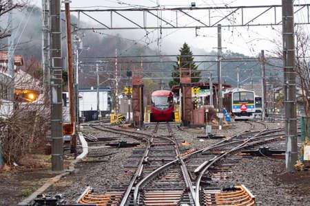 KAWAGUCHIKO, JAPAN - March 8, 2019: Train in Kawaguchiko Station  in Japan.