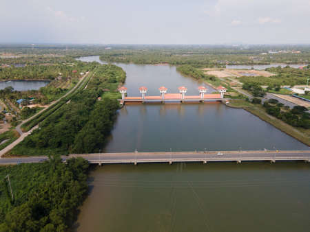 Ariel view water gate of Bang Prakong Dam; Chachoengsao province Thailand