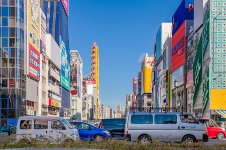 tourist spots: OSAKA, JAPAN : Dotonbori street in Osaka on November 23, 2015. One of the famous tourist spots in Osaka.
