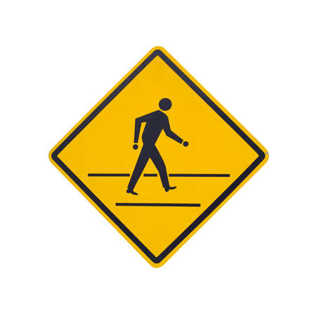 Pedestrian crossing sign close-up isolated on white photo