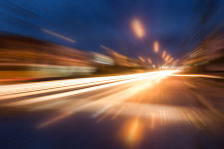 yellow car: speed motion on night road