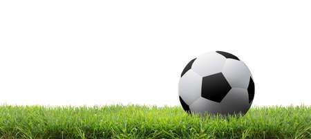 pelota de futbol: Bal�n de f�tbol en campo aislado Foto de archivo