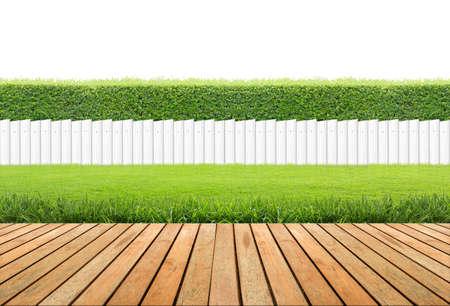 Gazon en houten vloer met haag en Witte hek geïsoleerd.