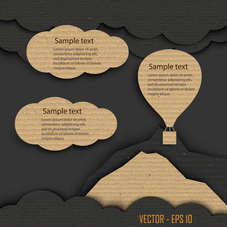 Hot air balloon and clouds ,Cardboard texture Vector
