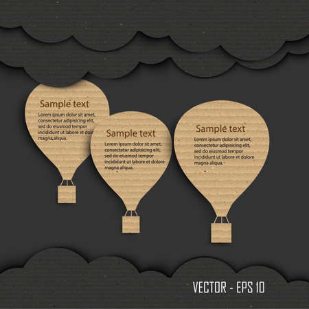 Paper hot air balloon with cloud ,Cardboard texture. Vector illustration Vector