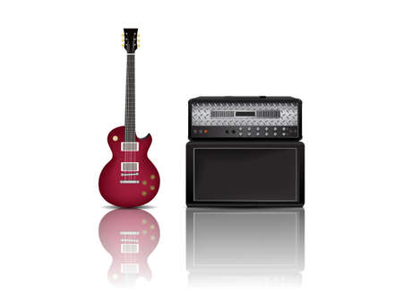 equalization: electric guitar and amplifier.vector illustration