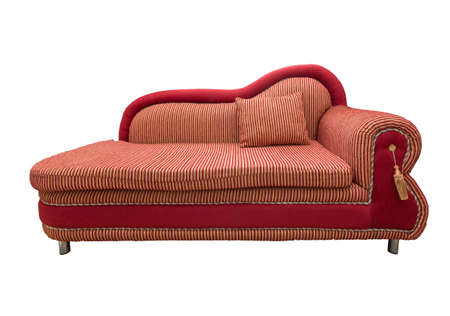 Red sofa with pillows isolated Stock Photo