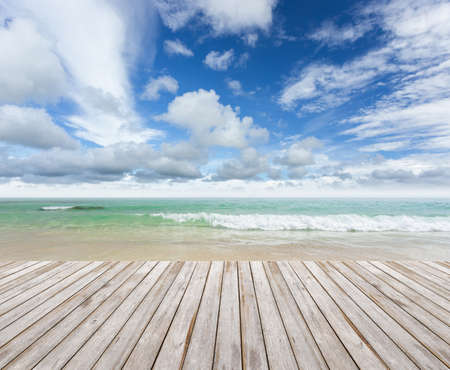 wood terrace on the beach Stockfoto