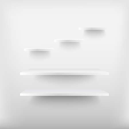 Empty white shelves . Vector illustration . Vector