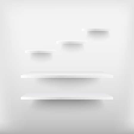 Empty white shelves . Vector illustration . Ilustração