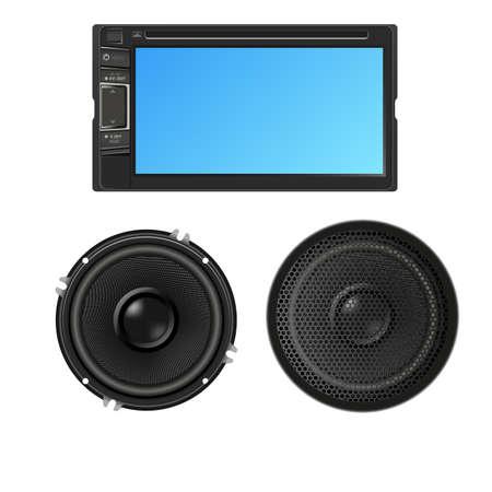 hi fi: Car audio with speakers. Vector