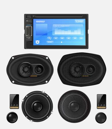 Car audio with speakers. Vector Vector