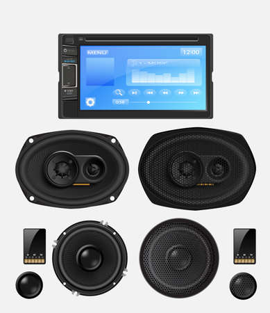 hi fi system: Car audio with speakers. Vector