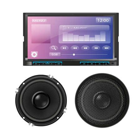 Coche de audio con altavoces. Vector
