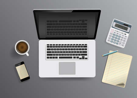 Laptop and office supplies on desk Illustration