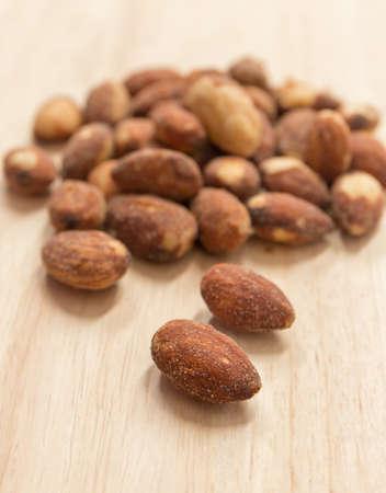 Salted and roasted Almonds . Reklamní fotografie