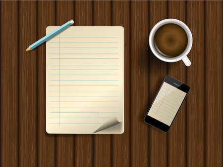 Blank lined paper and mobile phone , pencil with coffee cup on a wooden table. Illustration