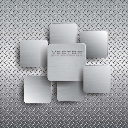 Squares with drop shadow on metal background.Vector illustration. Vector