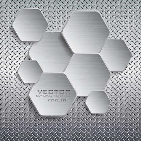 Hexagon with drop shadow on metal background.Vector illustration. Stock Illustratie