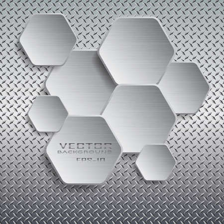 Hexagon with drop shadow on metal background.Vector illustration. Çizim