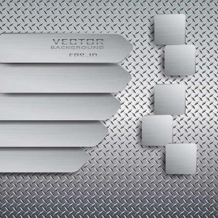Arrow with drop shadow on metal background.Vector illustration. Stock Illustratie