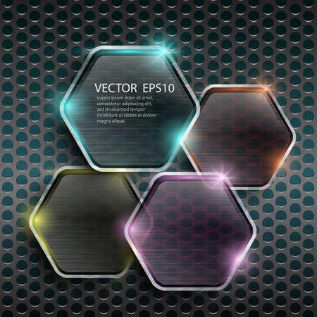 Glass framework on metal background Illustration