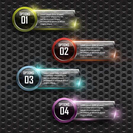 Framework: Glass framework on metal background Illustration