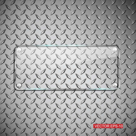 Glass framework on metal background, Vector design template.