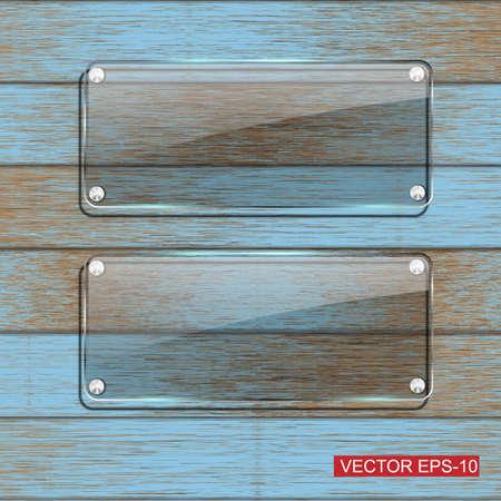 Framework: Glass framework on blue wooden texture .Vector illustration Illustration