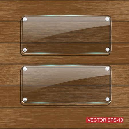 Glass framework on Wooden texture .Vector illustration