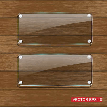 Glass framework on Wooden texture .Vector illustration