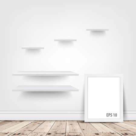 estanterias: estantes blancos y marco en blanco en la habitaci�n