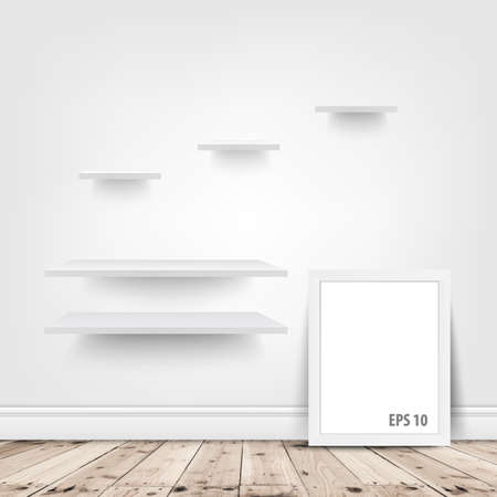 shelves: white shelves and blank frame in room Illustration