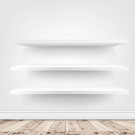 white shelf on white wall background. Vector illustration .