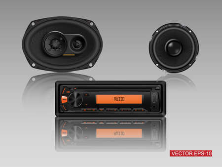 hi fi system: Modern Car Audio with speakers. vector illustration