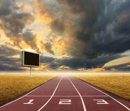 running track on sky background.