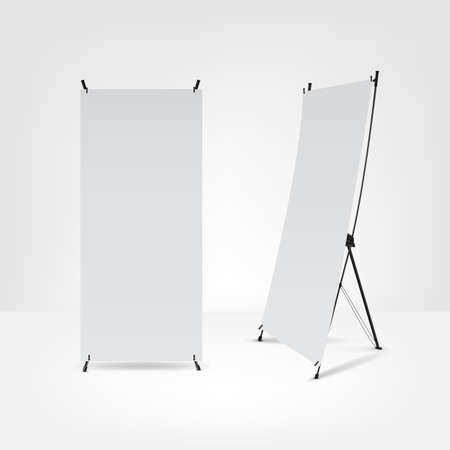 retail display: blank roll up banners.Vector illustration.