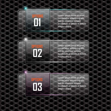 luminescent: Glass framework on metal background,Numbered banners. Vector design template.