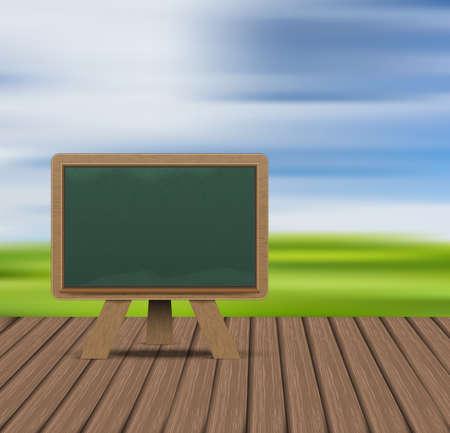 Blank blackboard on wood floor and Field against the sky background illustration