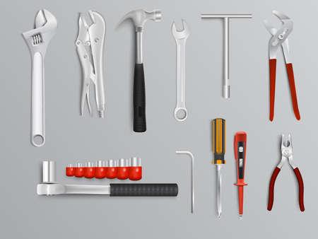 fontanero: Herramientas del mecánico ilustración Vectores
