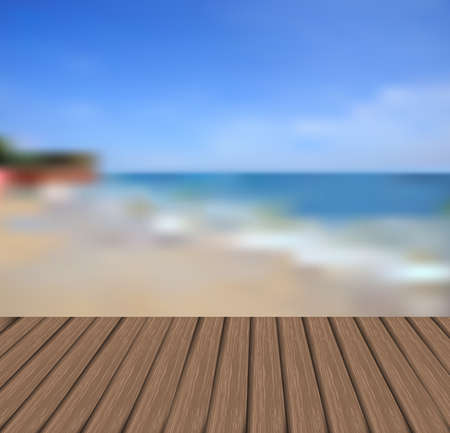 wooden floor and sea background illustration