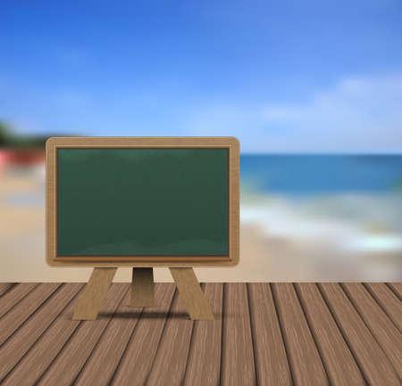 Blank blackboard on wooden floor with defocused sea background illustration Illustration