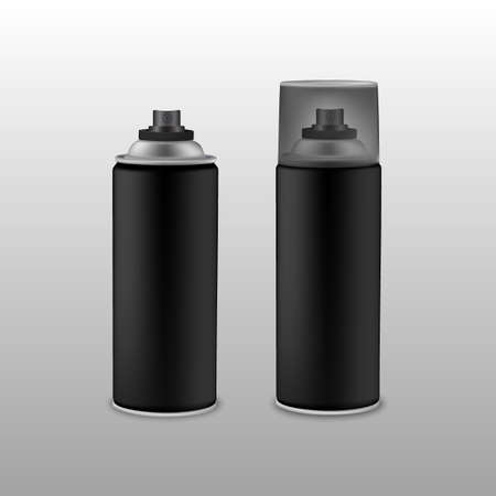 compressed air: Blank black spray can.Vector illustration