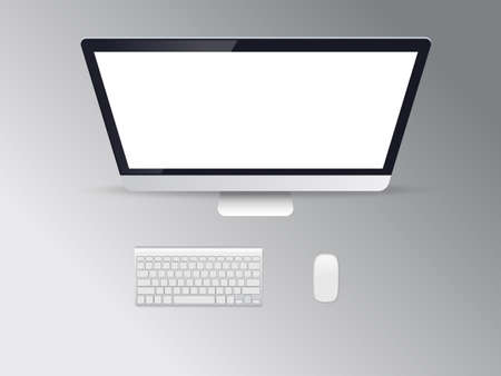 Computer display with blank white screen top view.Vector illustration.