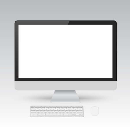 display: Computer display with blank white screen.Vector illustration.